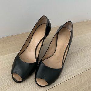Giuseppe Zanotti Shoes - Giuseppe Zanotti black leather peep toe stiletto